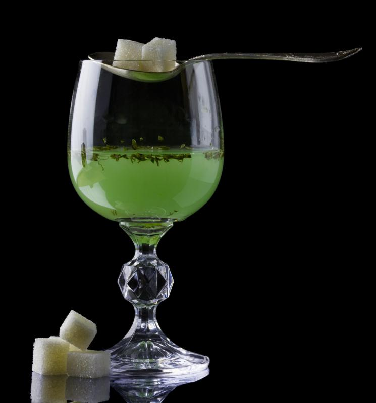 Chlorophyll gives absinthe its green color.