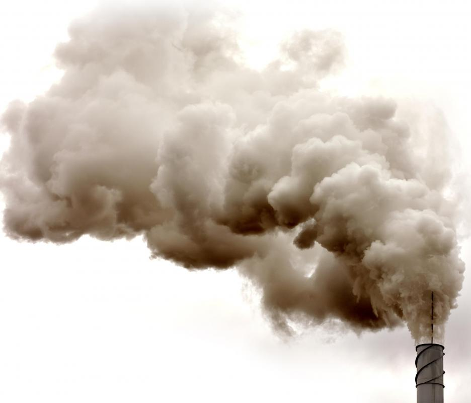Exhaust from furnaces or chemical processes is often released as air pollution.