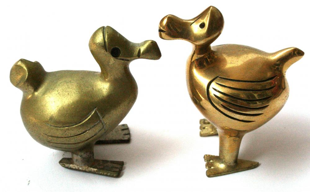 Brass sculptures of two dodo birds.