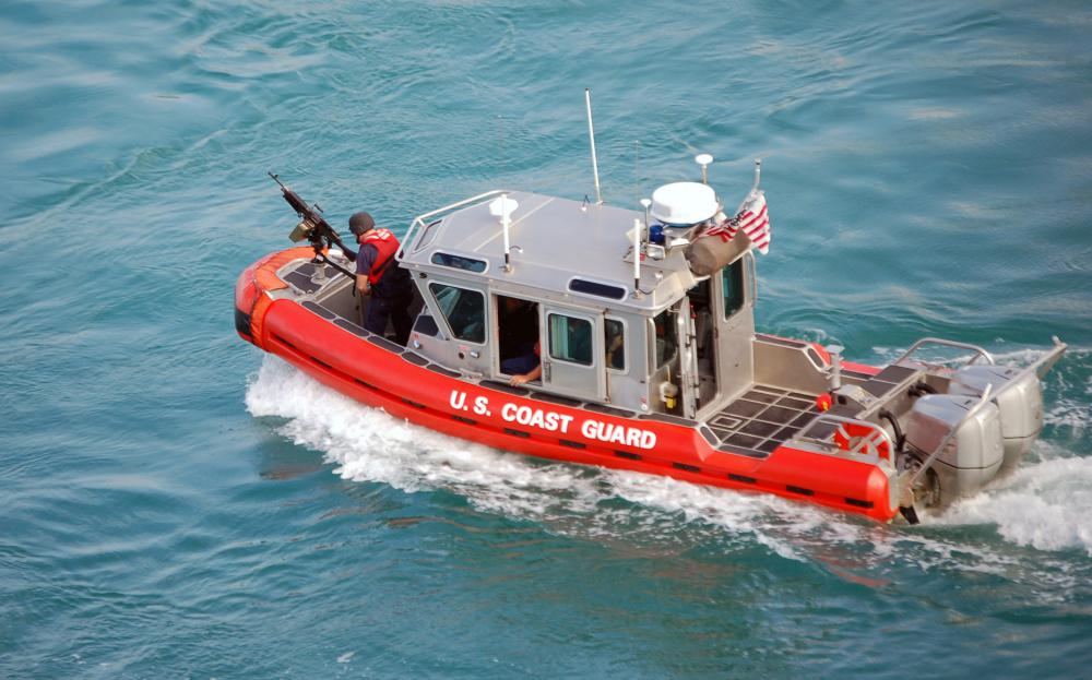 U.S. Coast Guard harbor patrol boats are often used to direct private boaters away from coast lines before tropical storms.
