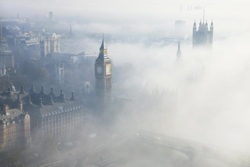 Fog commonly occurs when air rapidly cools, causing condensation to form.