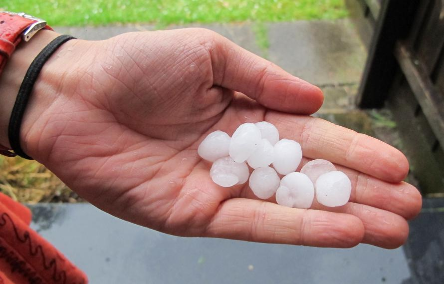 Hail can accompany thunderstorms.