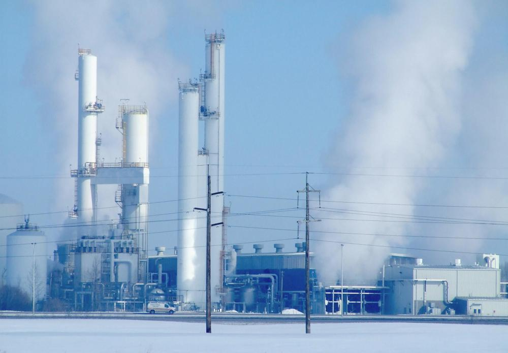 Industrial activities release large amounts of carbon dioxide.