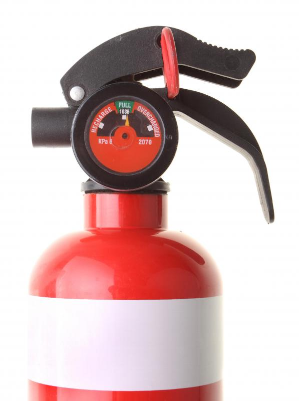 Metal items, such as an old fire extinguisher, are recyclable.