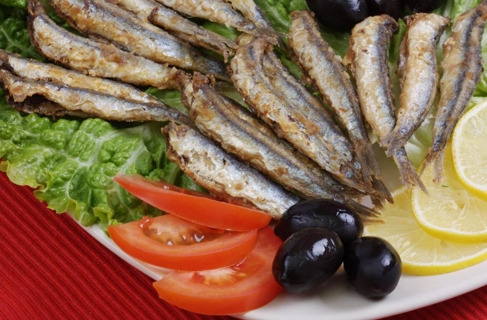 A platter of fried anchovies.