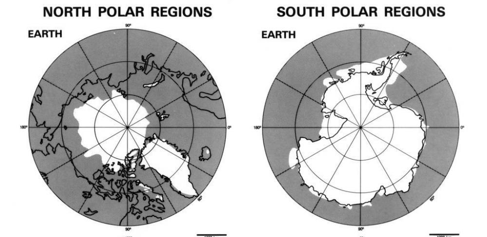 A map of the polar ice caps.
