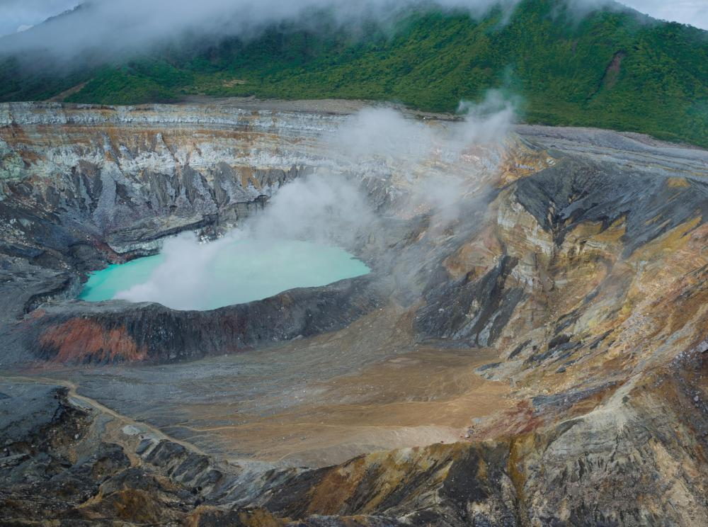 Gases can rise from volcanic lakes.