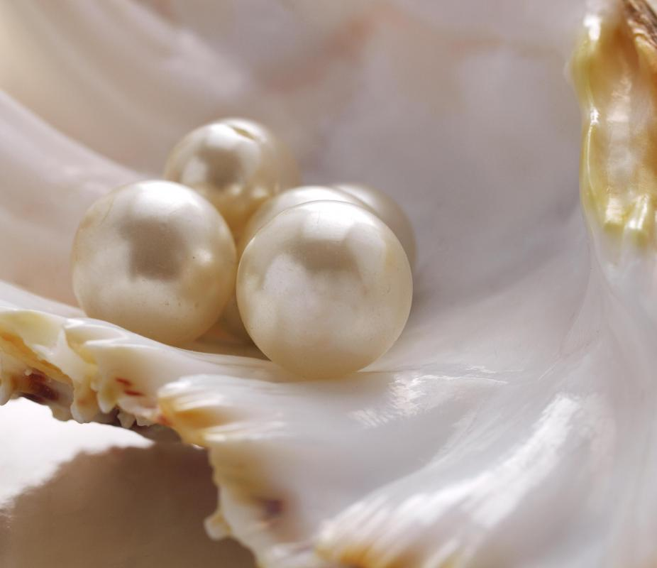 The nacre inside mollusk shells produces pearls.